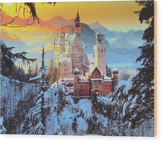 Neuswanstein Winter Wood Print