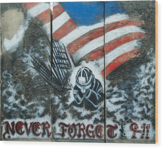 Never Forget 9-11 Wood Print by Unknown