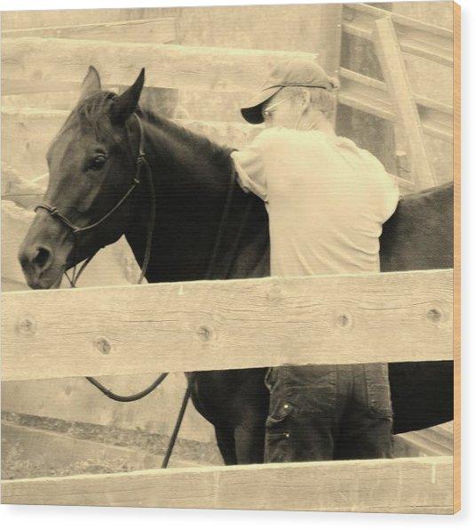 New Age Cowboy Wood Print by Virginia Lei Jimenez