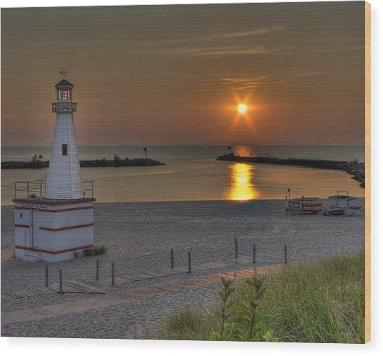 New Buffalo City Beach Sunset Wood Print