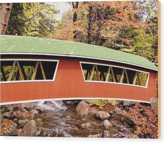 New England Covered Bridge Wood Print by Tony Craddock