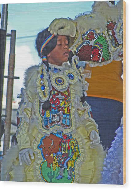 New Generation Of Mardi Gras Indians In New Orleans Wood Print