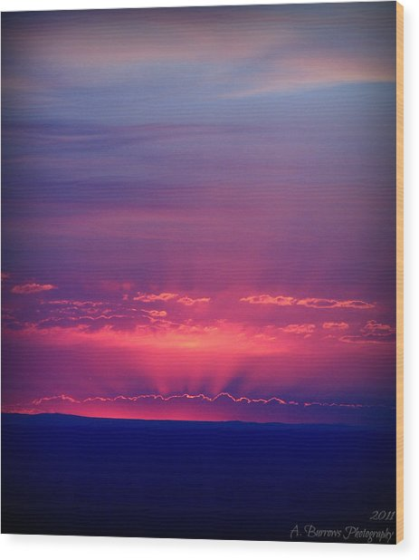 New Mexico Sky Colors Wood Print by Aaron Burrows