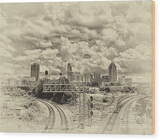 New Old Time Raleigh Nc Wood Print