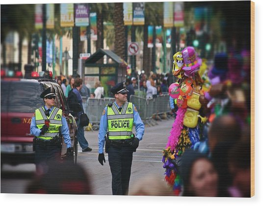 New Orleans Police At Mardi Gras Wood Print
