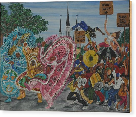 ''new Orleans Secondline'' Wood Print by Mccormick  Arts