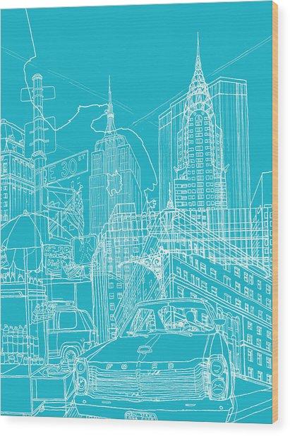 New York Blue Print Wood Print by David Bushell
