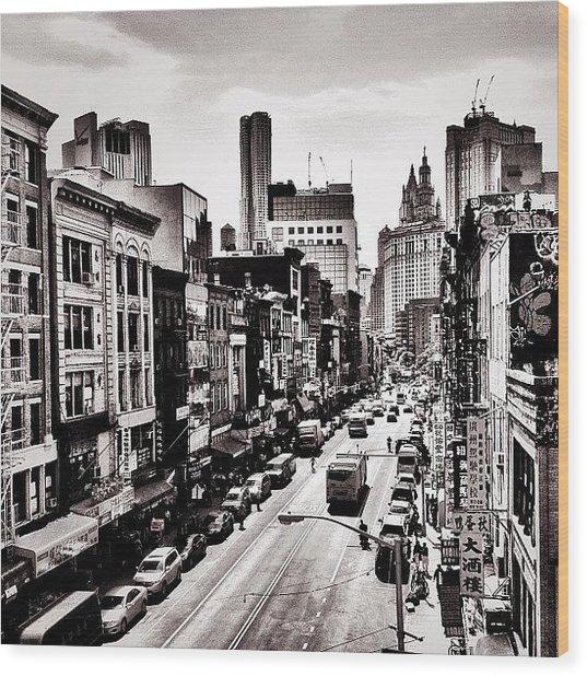 New York City - Above Chinatown Wood Print