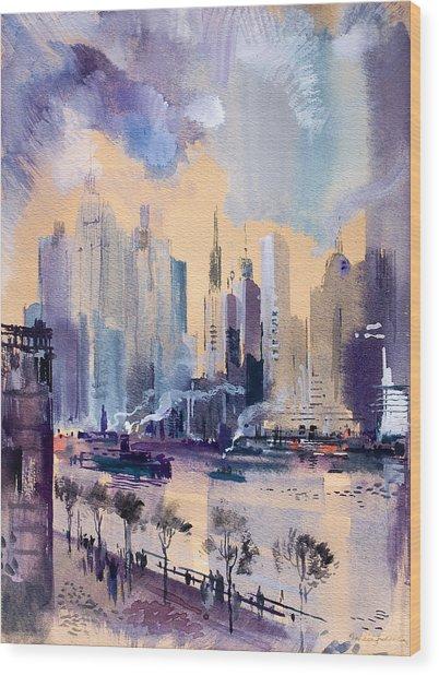 New York Wood Print by Odon Czintos