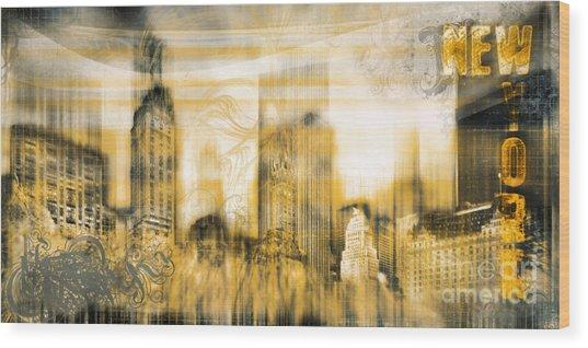 New York Vintage Style Wood Print by Frank Waechter