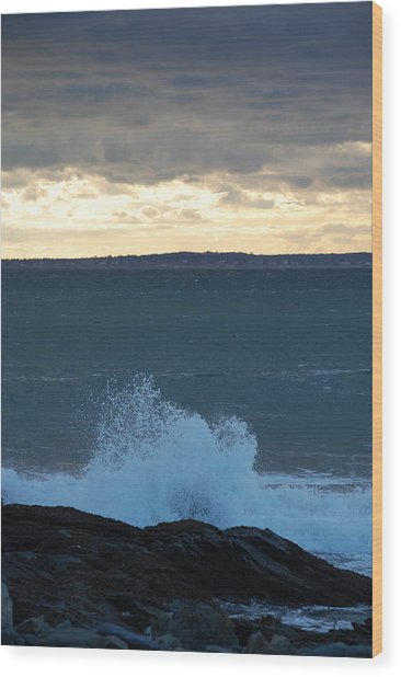 Newport Evening Waves Wood Print by Dickon Thompson