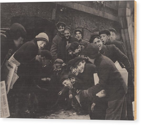 Newsboys Playing A Dice Game Wood Print by Everett