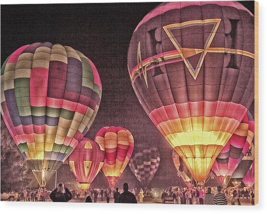 Night Balloon Lighting Wood Print