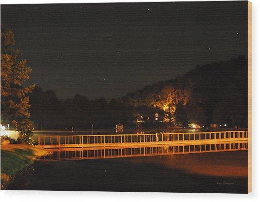 Night Bridge Wood Print