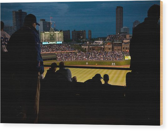 Night Game At Wrigley Field Wood Print