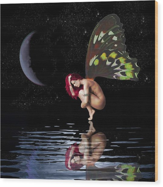 Night Reflection Wood Print by Diana Shively
