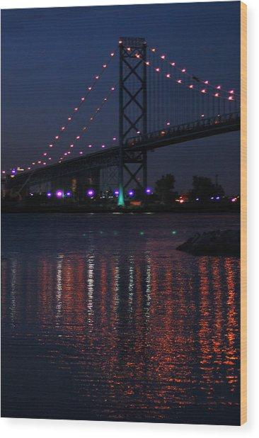 Night Reflections-detroit River Wood Print