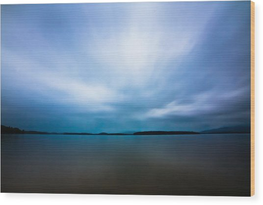 Nightfall On The Lake II Wood Print