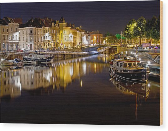 Nighttime Along The River Leie Wood Print