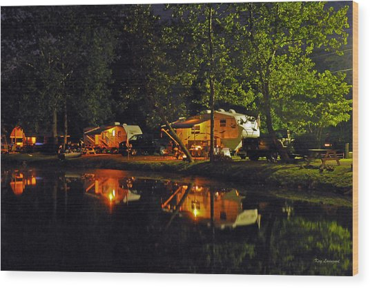 Nighttime In The Campground Wood Print