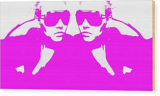 Niki Mirror Pink Wood Print by Naxart Studio