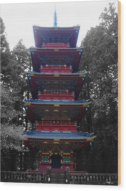 Nikko Pagoda Wood Print