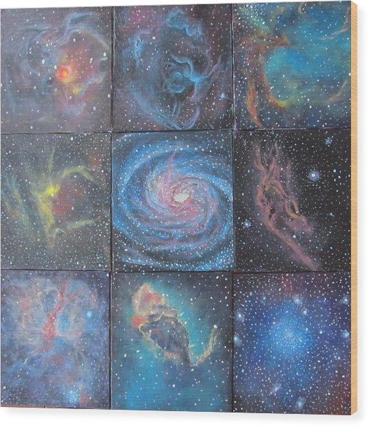 Nine Nebulae Wood Print by Alizey Khan