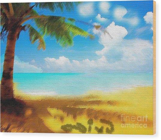 Nixo Landscape Beach Wood Print by Nicholas Nixo