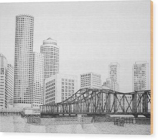 Northern Avenue Bridge - Boston Wood Print by Tim Murray