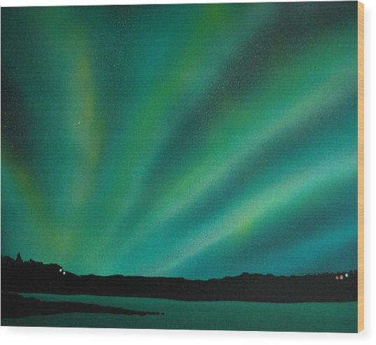 Northern Lights Cabin 3 Wood Print by DC Decker