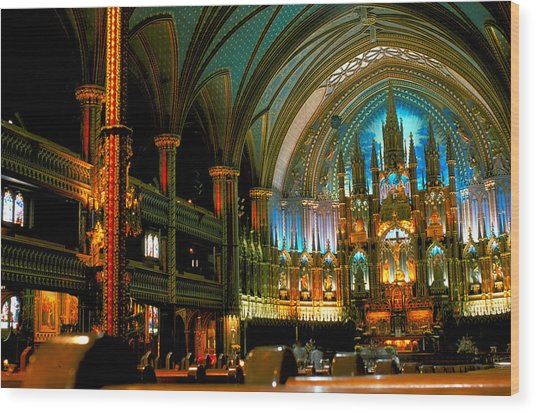 Notre Dame In Montreal Wood Print by Carl Purcell