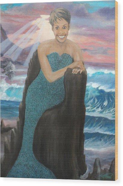 Nubian Mermaid Wood Print by Angelo Thomas