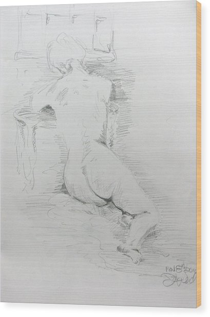 Nude In Front Of Table And Window Wood Print