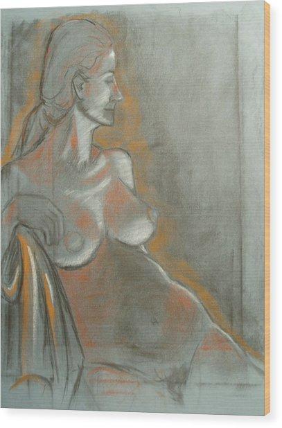 Nude Model  Wood Print by Aveda Allen