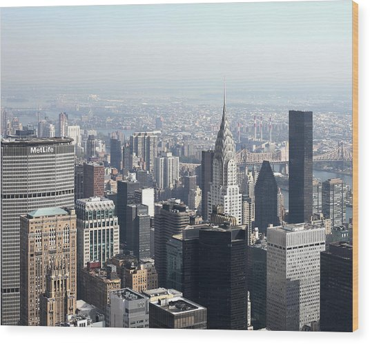 Ny Sky-line Wood Print by Jeff Mueller