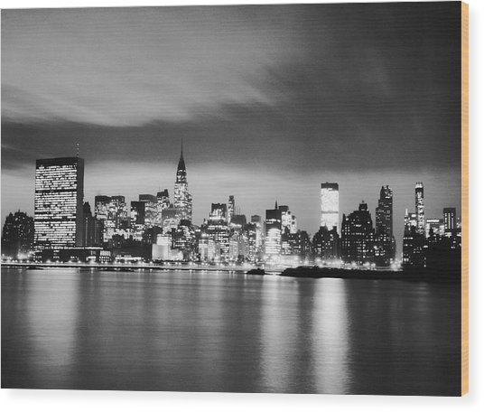 Nyc Skyline At Night Wood Print by George Marks