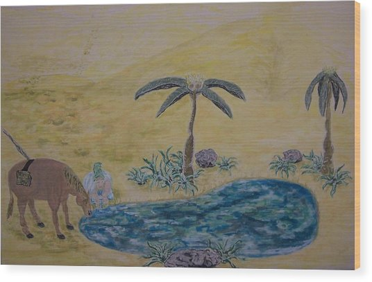 Oasis In The Desert Of My Mind Wood Print by Timothy  Foley