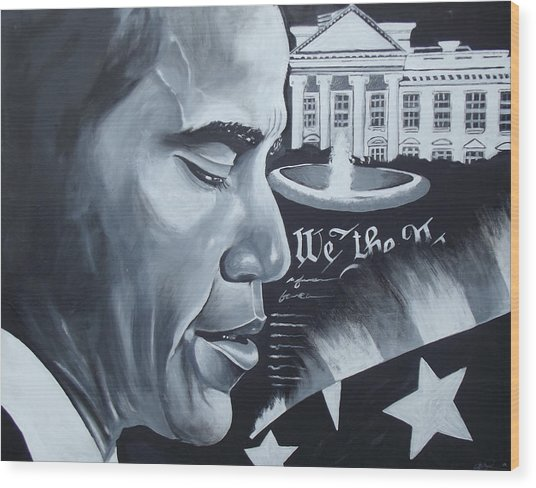 Obama Wood Print by Alonzo Butler