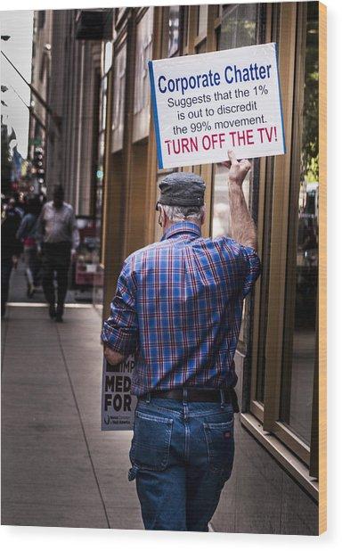 Occupy Chicago V Wood Print by Roger Lapinski
