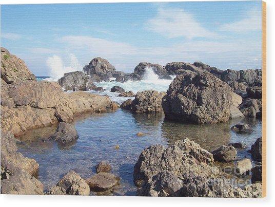 Ocean Tide On The Rocks Wood Print