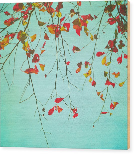 October Greetings Wood Print by Sharon Kalstek-Coty