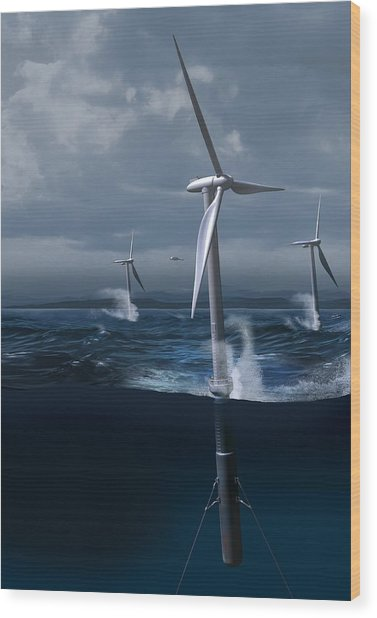 Offshore Wind Farm In A Storm, Artwork Wood Print by Claus Lunau
