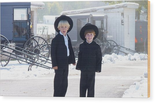 Oh So Cute Amish Boys Wood Print