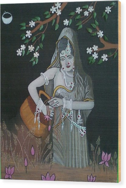Oil Painting...a Lady With Pitcher Wood Print by Priyanka Rastogi
