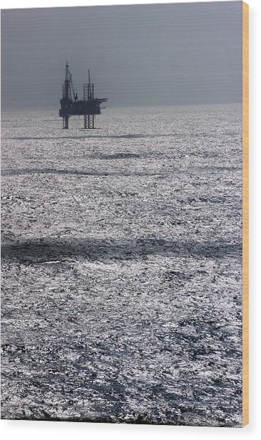 Oil Platform Wood Print by Arno Massee