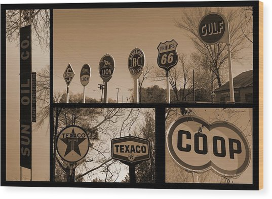 Oil Sign Retirement Wood Print