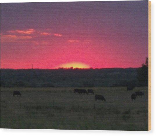 Okie Sunset Wood Print