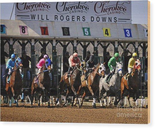 Oklahoma Horse Racing Wood Print