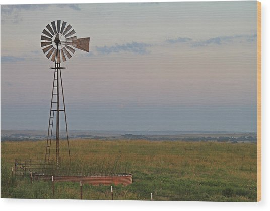Oklahoma Windmill Wood Print