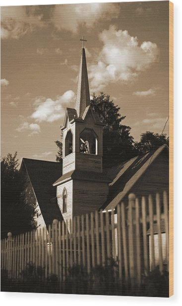 Ol' Church On The Hill Wood Print